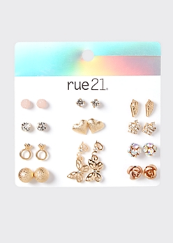 12-Pack Gold Love Crown Stud Earring Set