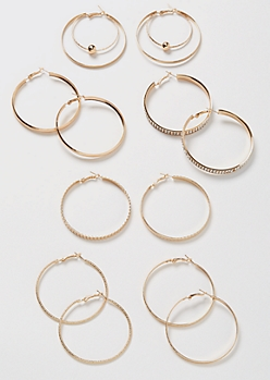 6-Pack Gold Rhinestone Hoop Earrings Set