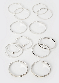 6-Pack Silver Rhinestone Double Hoop Earring Set