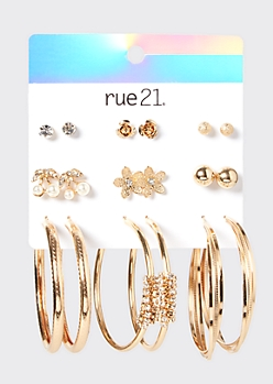 9-Pack Gold Cherry Stud And Hoop Earring Set