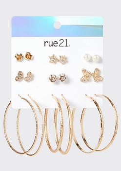 9-Pack Gold Butterfly Star Stud And Hoop Earring Set