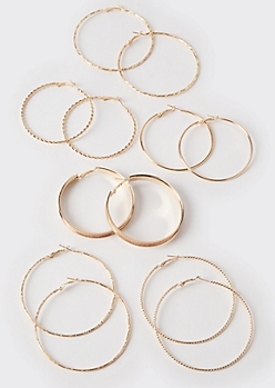 6-Pack Gold Braided Hoop Earrings
