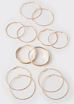 6-Pack Gold Braided Hoop Earrings
