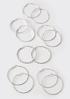 6-Pack Silver Skinny Hoop Earrings