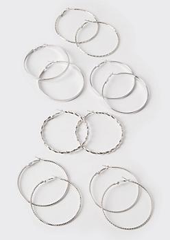 6-Pack Silver Skinny Hoop Earrings