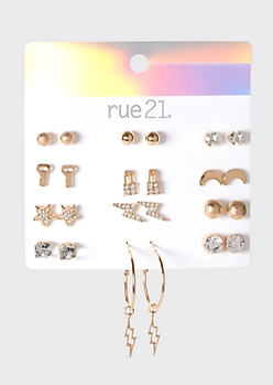 12-Pack Gold Lightning Bolt Earrings