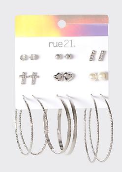 9-Pack Pearl Stud And Hoop Earrings