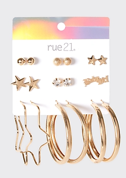 9-Pack Gold Star Earring Set