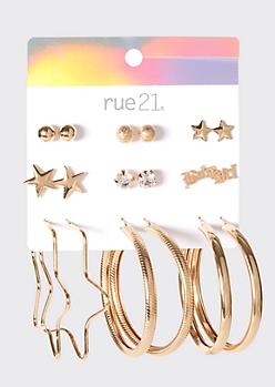 9-Pack Gold Star Earring Set