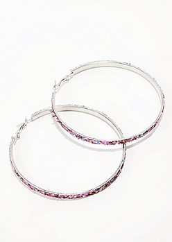 Rainbow Glitter Hoop Earrings