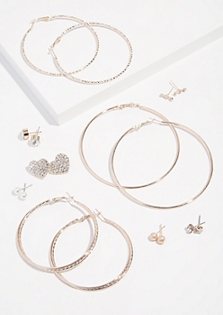 9-Pack Rose Gold Skinny Hoop Heart Earring Set