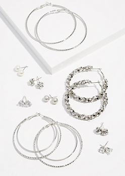9-Pack Silver Cluster Hoop Pearl Earring Set