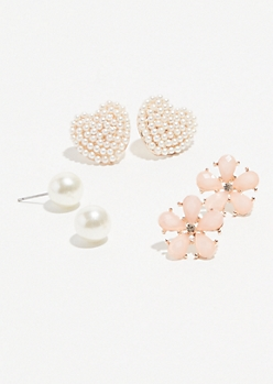 6-Pack Rose Gold Pearl Heart Stud Earring Set