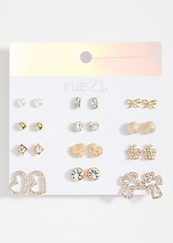 12-Pack Gold Heart And Crown Stud Earring Set
