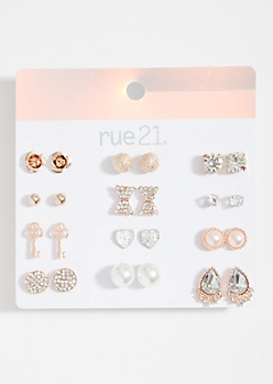 12-Pack Rose Gold Bow And Key Stud Earring Set