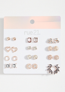 12-Pack Rose Gold Gemstone Crawler Stud Earring Set
