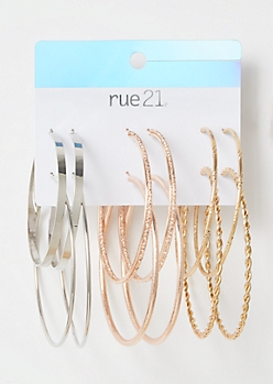 6-Pack Mixed Metal Twisted Hoop Earring Set