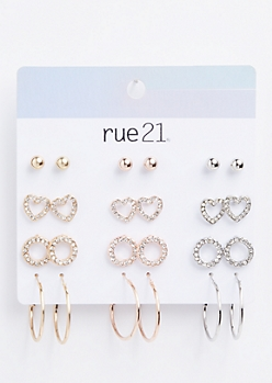 12-Pack Mixed Metal Heart Earring Set