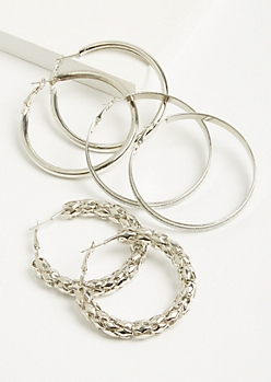 3-Pack Silver Glitter Hoop Earring Set