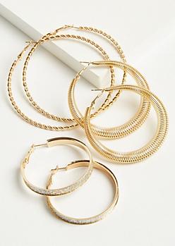 3-Pack Gold Coil Hoop Earring Set