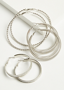 3-Pack Silver Coil Hoop Earring Set