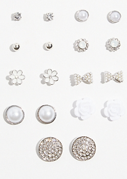 9-Pack Silver White Rose Stud Earring Set