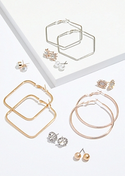 9-Pack Mixed Metal Geometric Hoop Stud Earring Set