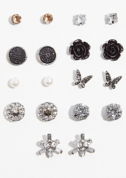 9-Pack Dark Metal Black Bead Stud Earring Set