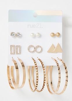 9-Pack Gold Circle Earring Set