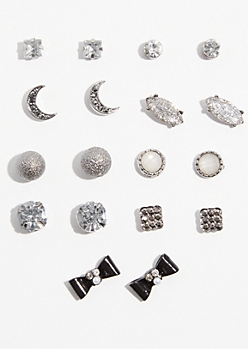 9-Pack Dark Metal Crescent Moon Stud Earring Set