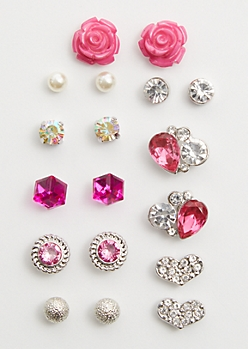 9-Pack Pink Gem Stud Earring Set