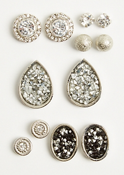 6-Pack Silver Druzy Stud Earring Set