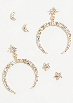6-Pack Gold Moon and Star Earring Set