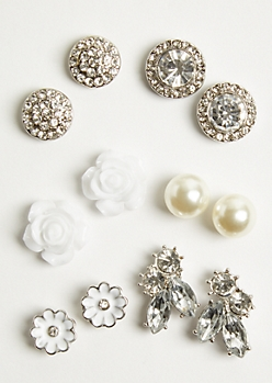 6-Pack Silver Floral Stud Earring Set