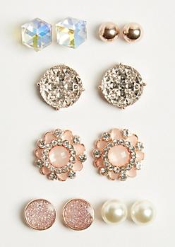 6-Pack Pink Pearl Stud Earring Set