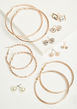 9-Pack Rose Gold Pearl Stud and Hoop Earring Set