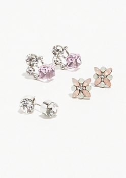 6-Pack Silver Cube Cluster Stud Earring Set