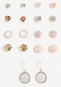 9-Pack Rose Gold Glitter Drop Stud Earring Set