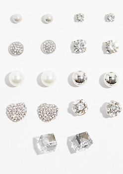 9-Pack Silver Gem Cluster Stud Earring Set