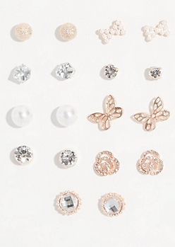 9-Pack Rose Gold Butterfly Stud Earring Set