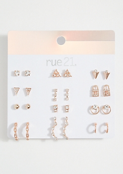 12-Pack Rose Gold Lock Stud Earring Set