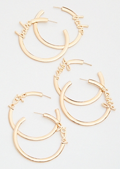 3-Pack Gold Babe Love Sassy Earring Set