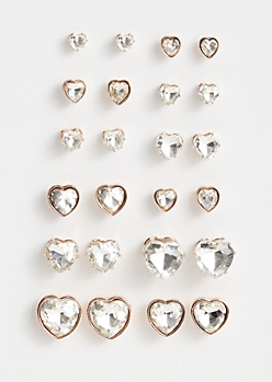 12-Pack Rose Gold Gemstone Heart Stud Earring Set