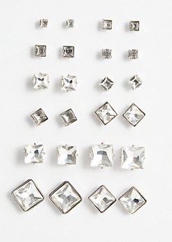 12-Pack Silver Gemstone Square Stud Earring Set