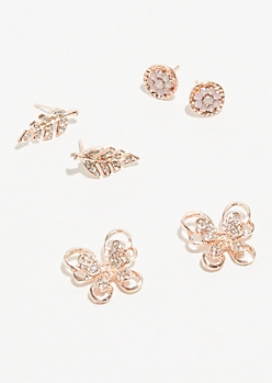6-Pack Rose Gold Leaf Butterfly Stud Earring Set
