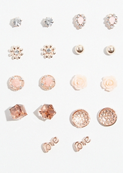 9-Pack Rose Gold Pink Flower Stud Earring Set
