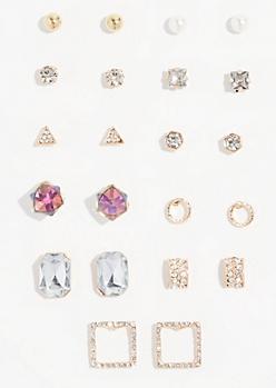 12-Pack Gold Gem Cube Stud Earring Set
