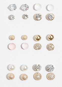 12-Pack Mixed Metal Gem Stud Earring Set