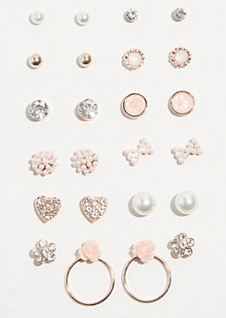 12-Pack Rose Gold Drop Circle Stud Earring Set