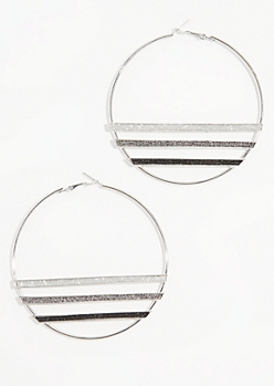 Silver Glitter Stripe Hoop Earrings